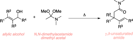 Schematic of the Eschenmoser-Claisen rearrangement. Reagents: allylic alcohol, N,N-dimethylacetamide, and heat. Product: γ,δ-unsaturated amide.