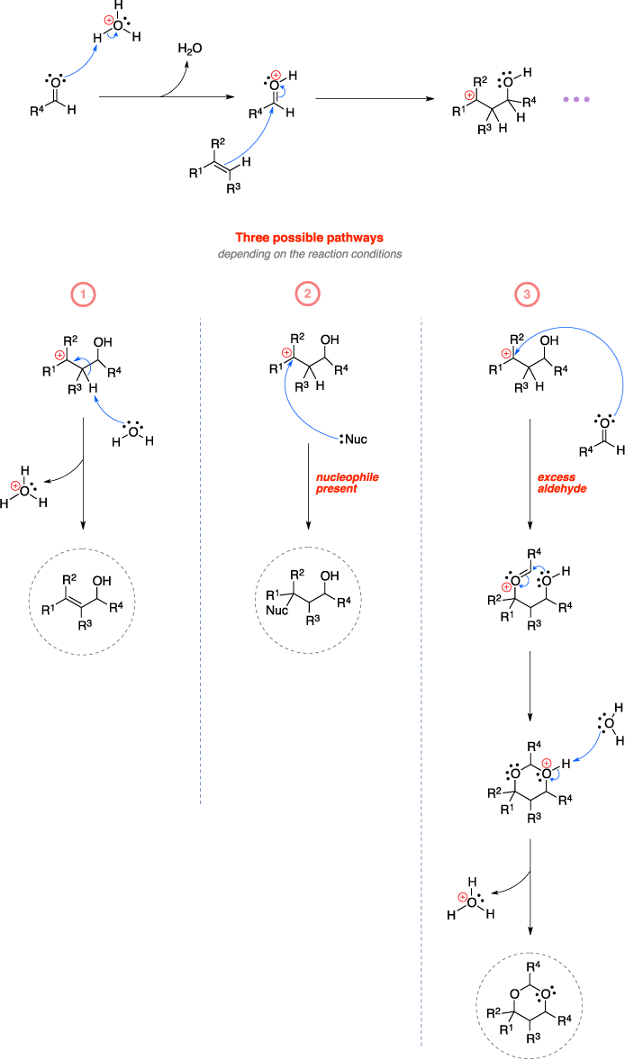 Mechanism of the Prins reaction. Three possible pathways depending on the reaction conditions: nothing present, nucleophile present, or excess aldehyde.