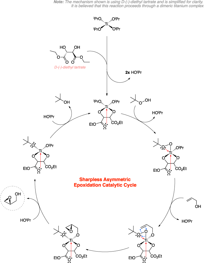 Mechanism of the Sharpless epoxidation. Sharpless Asymmetric Epoxidation Catalytic Cycle. Note: The mechanism shown is using D-(-)-diethyl tartrate and is simplified for clarity. It is believed that this reaction proceeds through a dimeric titanium complex.