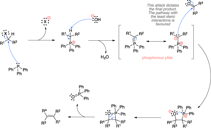 Mechanism of the Wittig reaction. This attack of the phosphorous ylide dictates the final product. The pathway with the least steric interactions is favoured.